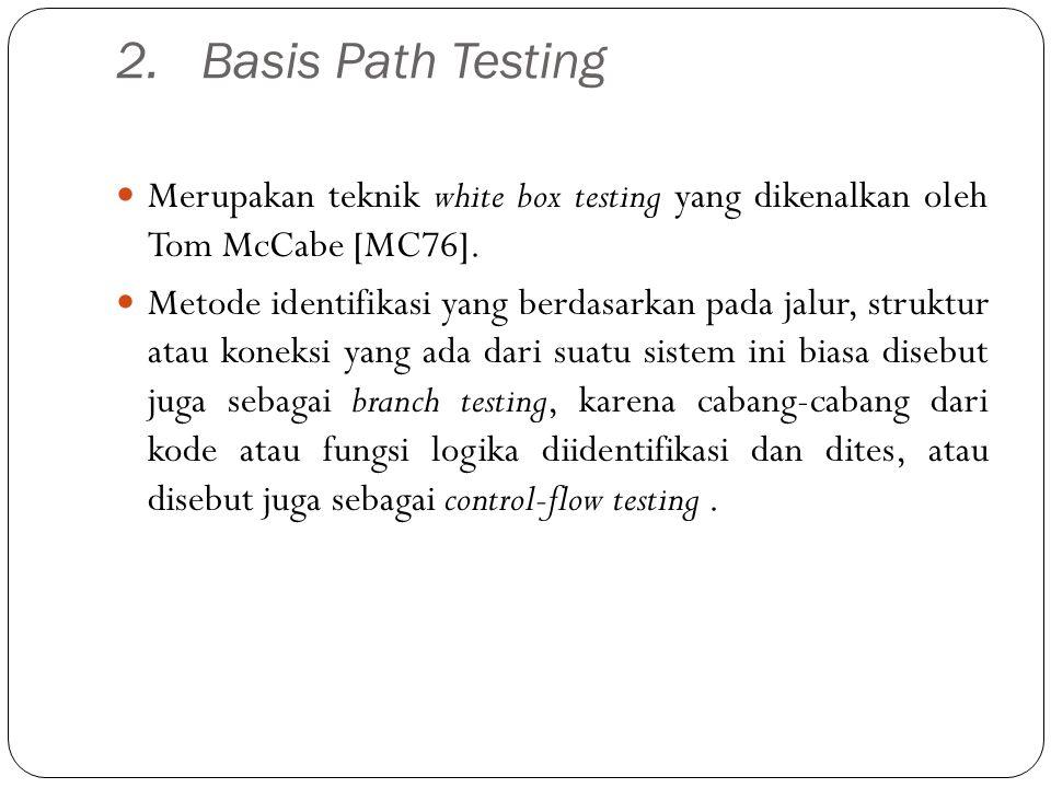 Basis Path Testing Merupakan teknik white box testing yang dikenalkan oleh Tom McCabe [MC76].